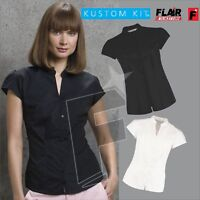 Kustom Kit Ladies' Continental Mandarin Collar Cap Sleeve Blouse