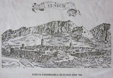 1960 CUNEUM Veduta panoramica Cuneo fine '700 Salmon litografia su simil pelle