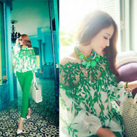 Women Lady Green Leaf Hollow Lace Crochet Chiffon Tops Long Sleeve Blouse Shirt