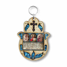 Wooden Cross Icon - Hamsa Blessing Home Wall Decor Simulated Turquoise