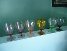6 vintage retro harlequin wine champagne glasses etched