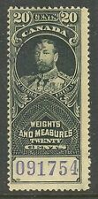 Canada #FWM58 or FWM58a, 1915 20c King George V Weights & Measures Revenue Used