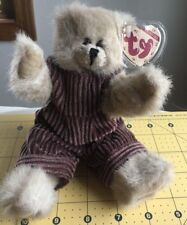 Ty Attic Treasures Abby The Bear With Purple Courderoy Overalls