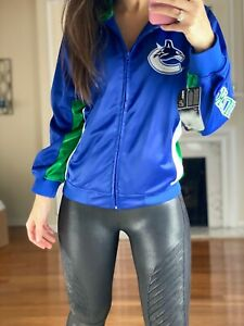 Vancouver Canucks NHL Full Zip Embroidered Track Jacket Youth L (14/16) Women XS