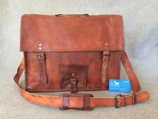 "Handmade Goat Leather 18"" Laptop Bag SXXLP Satchel Briefcase Billy Goat Designs"