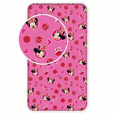 DISNEY MINNIE MOUSE HEARTS SINGLE FITTED SHEET COTTON BEDROOM GIRLS PINK