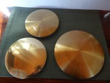"New listing Three Brushed Shiny Brass Pendulum Bobs for Grandfather Clocks, 8 1/4"" & 6 3/4"""