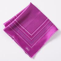 New $145 BRIONI Violet Purple Micro Medallion Print Silk Pocket Square