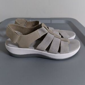 Clarks Cloudsteppers Women's Size 8 Shoes Gray/White Slingback Strappy Sandals