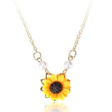 Fashion Pearl Yellow Sunflower Pendant Necklace Women Choker Chain Party Jewelry