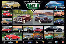AMERICAN CARS OF THE 1940s 18 Classic Detroit Automobiles Historic WALL POSTER
