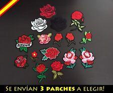 Parche Bordado Ropa Costura Adorno Plancha Rosa Flor Clavel Flores Regalo
