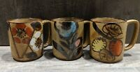 Vintage Otagiri Style Speckled Floral Coffee Cups Mugs Made In Japan, Set of 3