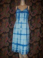 Vintage Vanity Fair Blue Tie Dye Silky Nylon Empire Slip Nighty Lingerie 34