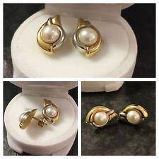 Bicolor Goldohrstecker mit Perle 585er Gold Ohrstecker Perlenohrstecker Ohrringe