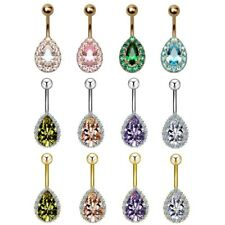Teardrop Pear Crystal Belly Button Rings Surgical Steel Navel Piercing Barbell