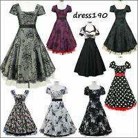 dress190 Cap Sleeve 50s 60s Rockabilly Vintage Party Prom Cocktail Dress US 6-24