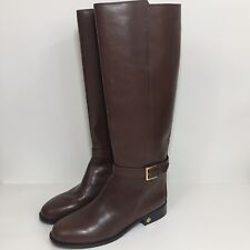 Tory Burch Brooke Brown Leather Riding Knee High Boots Size 8.5