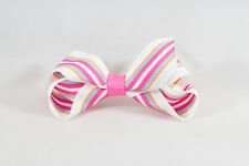 Unit of 10 Medium 3 Inch Pink/White Stripe Hair Bows on clips Grosgrain