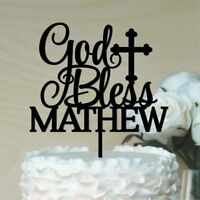 God Bless with personalised name cake topper. Baptism, Christening, ACRYLIC/WOOD