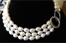 "HOT 8-9MM TRIPLE STRANDS GENUINE AKOYA WHITE PEARL NECKLACE 17""-19"" AAART"