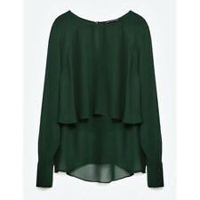 BNWT Zara Dark Green Layered Long Sleeve Top Blouse