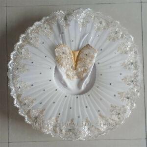 Classical Ballet Tutu White Stage Professional Dance Costume Trims Pancake Skirt