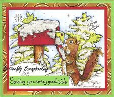CHRISTMAS MAIL DELIVERY SQUIRREL Wood Mounted Rubber Stamp NORTHWOODS P10116 New