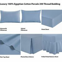 100%Egyptian Cotton T200 Fitted Flat Frilled Base Valance Sheet Pillowcases Blue
