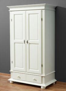 Kleiderschrank Fichte massiv weiß Garderobenschrank Holzschrank Landhaus