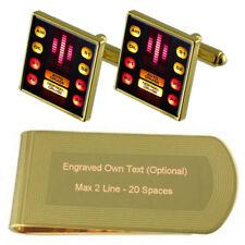 Knight Rider Gold-Tone Cufflinks Money Clip Engraved Gift Set