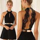 Women Casual Sleeveless Bodycon Lace Cocktail Evening Party Stretch Mini Dress