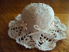 Vintage Crocheted Hat  Pin Keeper Cushion Metallic/Cream