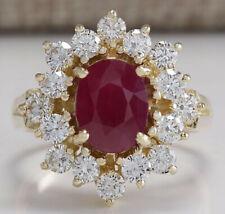 3.08 Carat Natural Ruby 14K Yellow Gold Diamond Ring
