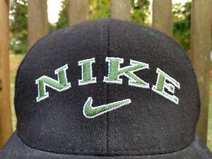 Nike Hat vtg 90s Snapback embroidered Cap Black hat Green Swoosh 1990s Wool NICE