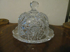 "ABP Fabulous Cut Glass Butter or Cheese Dish w 7"" Dome Lid"