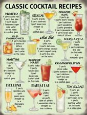 COCKTAIL RECIPES KITCHEN Metal Sign Plaque Novelty Gift Present for her NEW