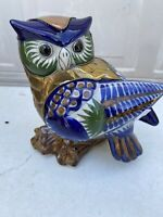 Antique Owl Statue Figurine Blue Gold And Green