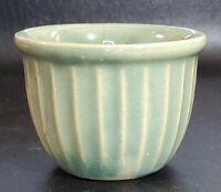 Vintage Stoneware Green Ribbed Custard Cup