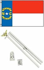 3x5 State of North Carolina Flag White Pole Kit Set 3'x5' residential house