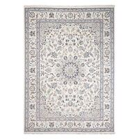 "8'10""x12'1"" Ivory Wool and Silk 250 KPSI Nain Hand Knotted Oriental Rug R48797"