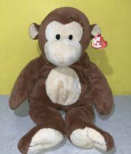 2014 TY Pluffies DANGLES Brown Monkey Plush Stuffed Animal ~ Plastic Eyes w/ Tag