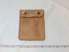 "Handmade leather coin card pouch holder 5 1/4"" X 3 5/8"" flap beigh to tan spots"