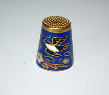 Vtg Handcrafted Cloisonne Enamel Brass Thimble Bird Floral Design Collectible