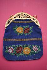 Ancienne bourse en perle motif floral
