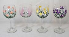 Set of 4 Hand Painted Wine Glasses  with Spring Flowers - Pretty!