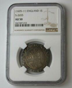 (1605-11) England Silver 1 Schilling S-2655 NGC AU 50 #68168JR