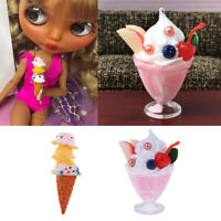 2 Pieces 1:6 Ice Cream Miniature for Dollhouse Accessory Kids Pretend Play