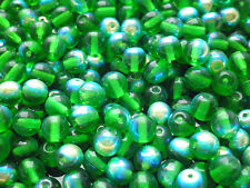 Czech glass green AB round beads 6 mm pack of 25