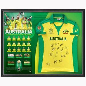 AUSTRALIAN CRICKET TEAM 2019 WORLD CUP SIGNED FRAMED LIMITED OFFICIAL SHIRT